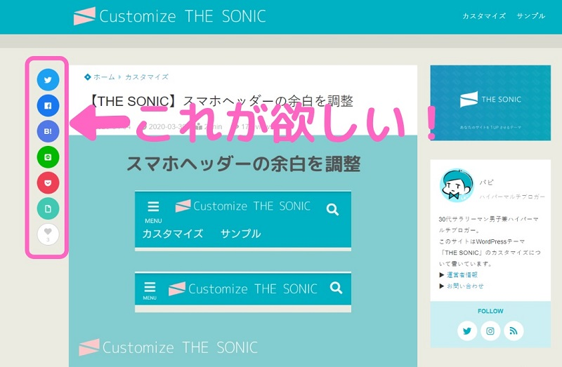 THE SONICのサイト画面
