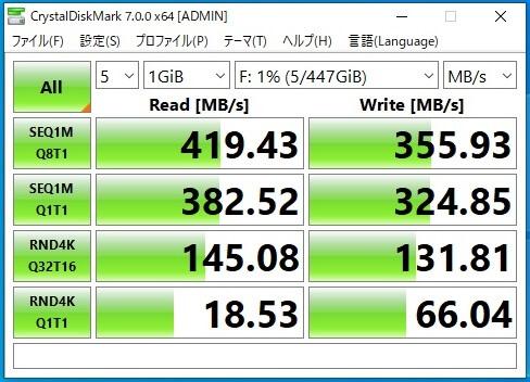 BUFFALO SSD-PG480U3-B/NLの転送速度