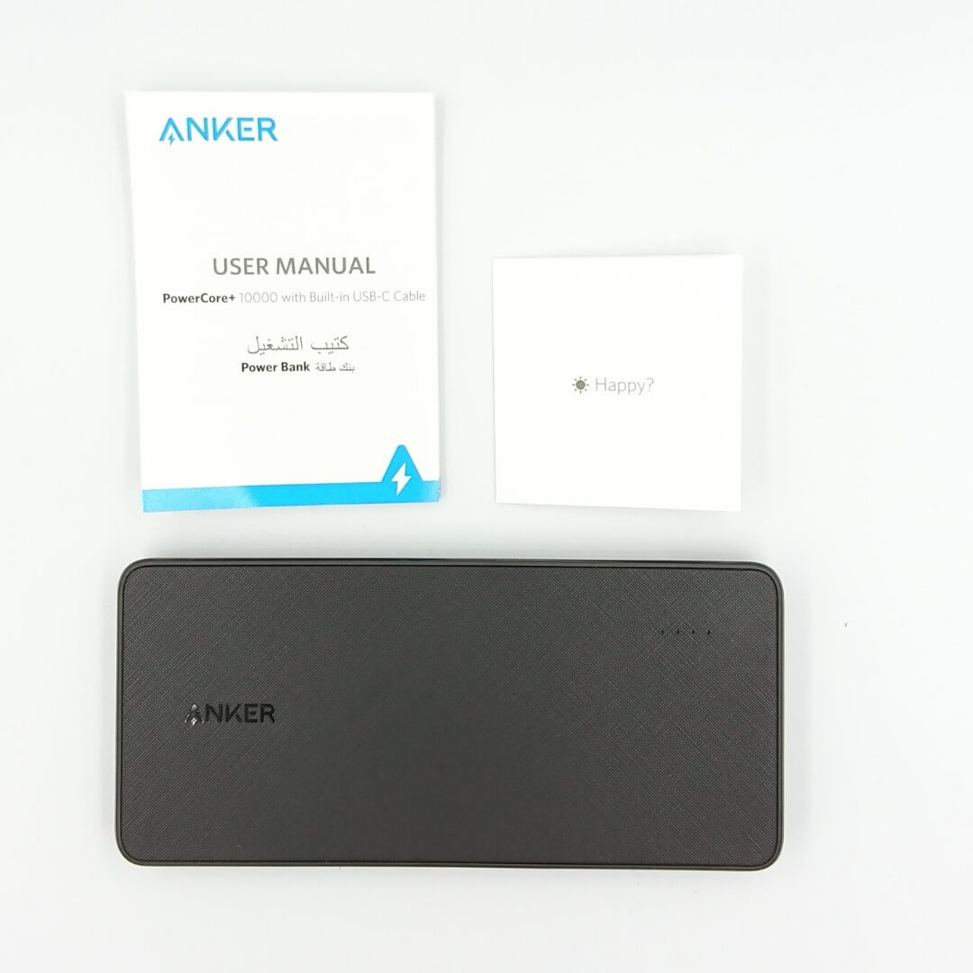 Anker PowerCore+ 10000 with built-in USB-C Cable付属物