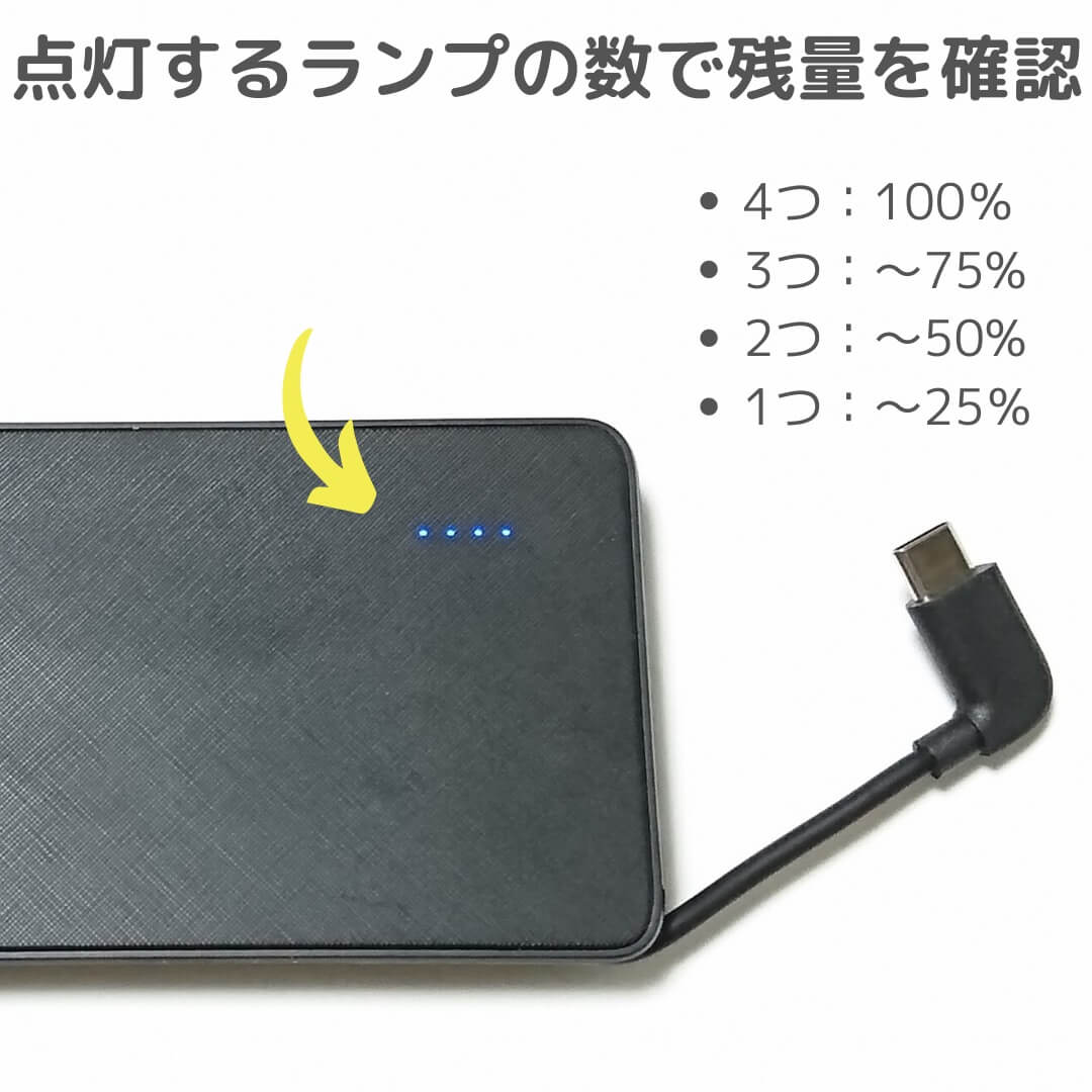 Anker PowerCore+ 10000 with built-in USB-C Cable充電残量確認