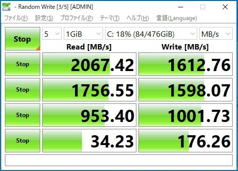GALLERIA(ガレリア) GR2060RGF-T内蔵M.2 SSD NVME規格のベンチマーク
