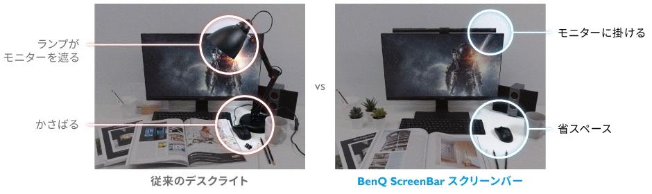 BenQ「WiT ScreenBar」とデスクライトの比較