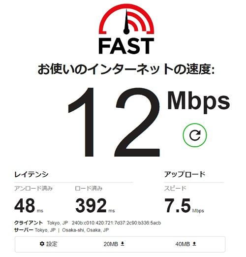 Rakuten WiFi Pocketの速度(ノートPC・平日夜)