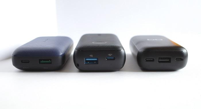 Anker PowerCore 10000 PD Redux 25W、UGREEN PB178、CIO-MB20W-10000 USBポート