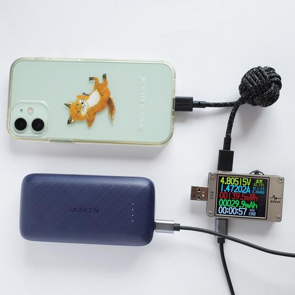 UGREEN 20W 10000mAhモバイルバッテリーUSB-CポートでiPhone 12 miniを充電